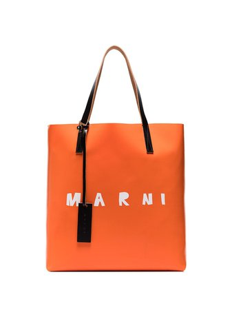 Shop orange & red Marni two-tone leather tote bag with Express Delivery - Farfetch