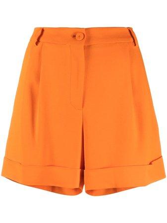 Moschino pleat detail tailored shorts orange