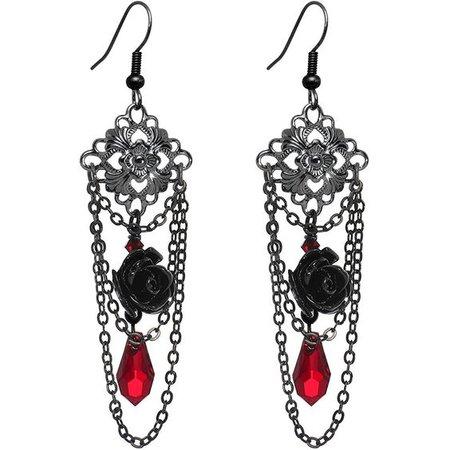 Black Copper Plated Gothic Black Rose Dangle Earrings