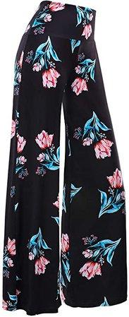 Arolina Women's Stretchy Wide Leg Palazzo Lounge Pants (XX-Large, Floral 10) at Amazon Women's Clothing store