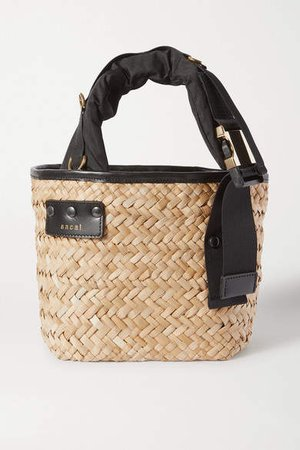 Shell And Leather-trimmed Woven Straw Tote - Black