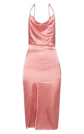 Rose Strappy Satin Cowl Midi Dress | PrettyLittleThing