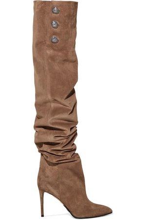 Balmain | Janet button-embellished suede thigh boots | NET-A-PORTER.COM