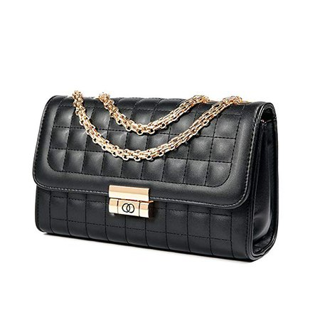 Amazon.com: Women's Classic Quilted Crossbody Purse Shoulder Bags Golden Chain Satchel Handbags (Black): Shoes