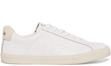 Esplar Suede-trimmed Leather Sneakers - White