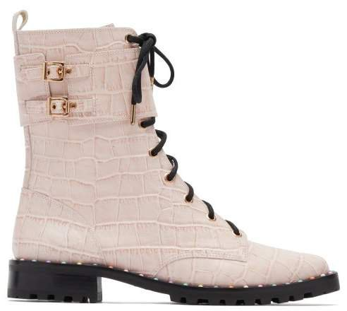 Bessie Crocodile Effect Leather Combat Boots - Womens - Pink