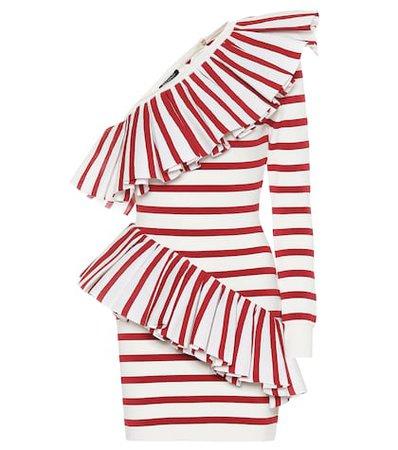 One-shoulder striped knit dress