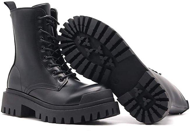Amazon.com: Dottie Women's Ankle High Platform Chunky Combat Boots, Lace Up Side Zipper (BC1-CR, US 5): Shoes