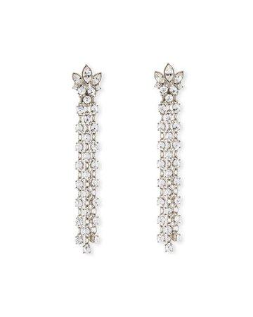 Oscar De La Renta Navette Crystal Dangle Earrings