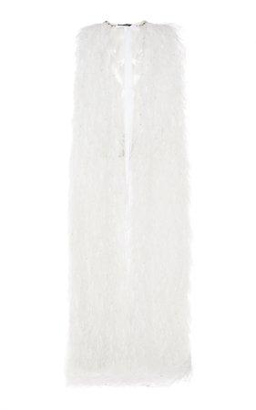 Jenny Packham Blaze Feather-Trimmed Chiffon Cape