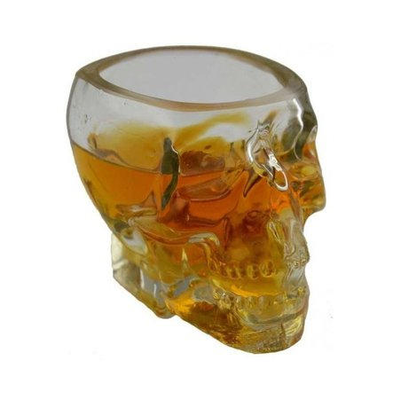 *clipped by @luci-her* Clear Glass Skull Mold Over-sized Shot Glass   RebelsMarket