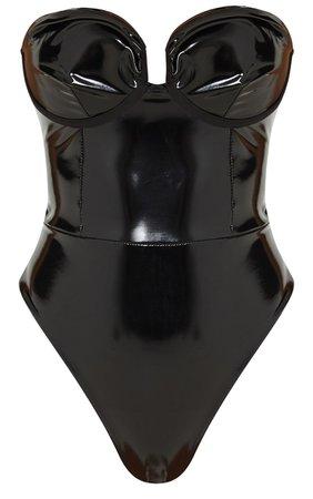 Black Vinyl Cup Bodysuit   Tops   PrettyLittleThing USA