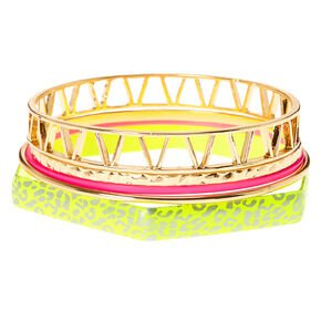 "Gold 2"" Neon Snakeskin Circle Drop Earrings - Yellow | Icing US"