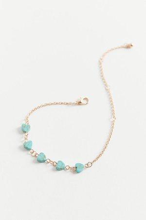 Semi-Precious Heart Charm Bracelet | Urban Outfitters