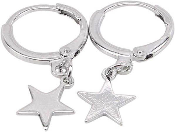 Amazon.com: Huangyong Delicate Dangle Hoop Earrings Moon Star Clip On Earring for Women,Silver: Arts, Crafts & Sewing