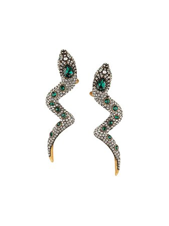 Gucci Snake Earrings With Crystals | Farfetch.com