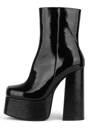 black platform boots shoes