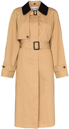 contrasting collar trench coat