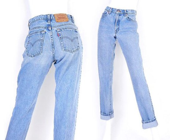 Vintage 90s Levis 550 High Waisted Mom Jeans - Size 7 LONG - Stone
