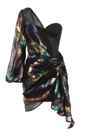 Clothing : Bodycon Dresses : 'Miranda' Black Satin Bustier Dress