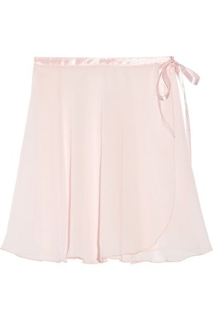 Ballet Beautiful   Satin-trimmed chiffon wrap skirt   NET-A-PORTER.COM