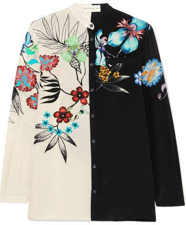 Floral-print Silk Shirt - Black