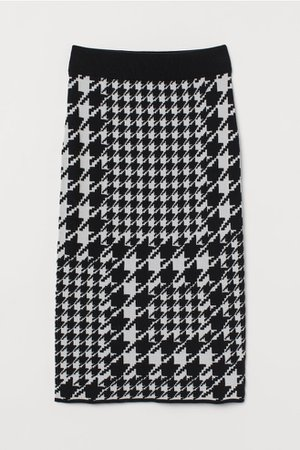 Jacquard-knit Skirt - Black/houndstooth-patterned - Ladies | H&M US