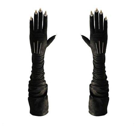 VEGAN BLACK OPERA STILETTO NAIL GLOVES | Majesty Black