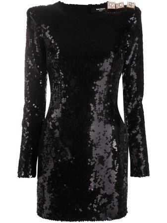 Balmain Sequinned Fitted Dress - Farfetch
