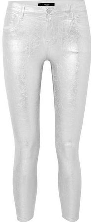 835 Metallic Coated Cropped Mid-rise Skinny Jeans - Silver