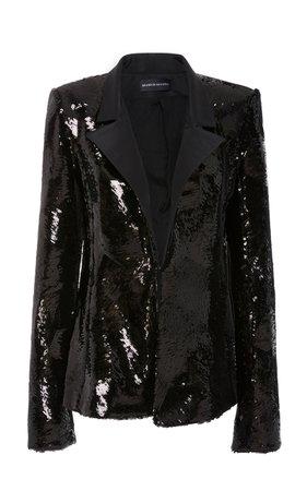 Sequin Faille Collar Jacket by Brandon Maxwell | Moda Operandi