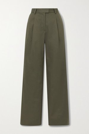 Angie Pleated Cotton-twill Wide-leg Pants - Dark green