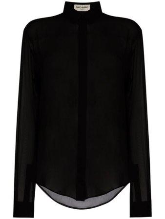 Saint Laurent Sheer long-sleeve Shirt - Farfetch