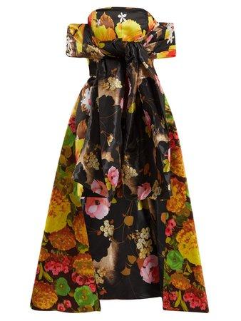 Floral-print off-the-shoulder dress   Richard Quinn   MATCHESFASHION.COM UK