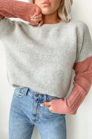 Fun Pink and Grey Sweater - Colorblock Sweater - Two-Tone Sweater - Lulus