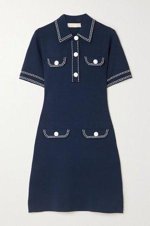 Topstitched Stretch-knit Mini Dress - Midnight blue