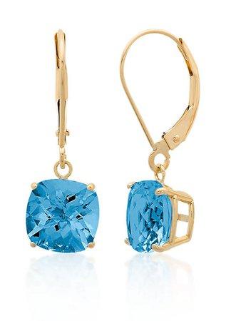 Belk & Co. 10k Yellow Gold London Blue Topaz Earrings