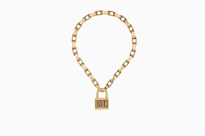 "Dior ""Lucky Locket"" necklace in aged gold-tone metal - Dior"
