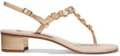 Crystal-embellished Textured-leather And Suede Slingback Sandals - Beige