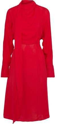 Tie-neck Draped Georgette Dress