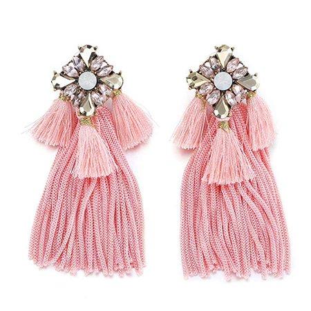 tassle Drop Earrings, Bohemian Crystal Embelished Layered Tassle Fringe Dangel Earrings, Pink: Clothing