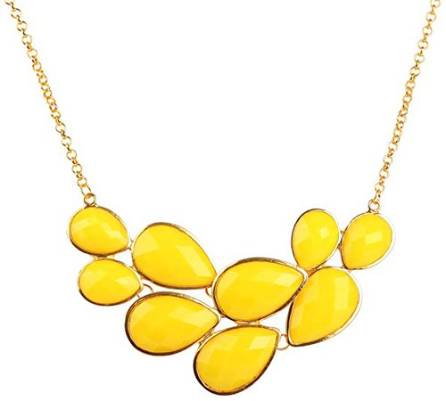 Jane Stone Yellow Bubble Bib Necklace Fancy Chunky Necklace Fashion Jewelry Statement Necklace Evening Party Jewellery