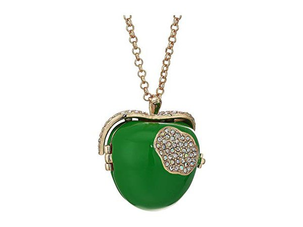 Betsey Johnson Apple Pendant Necklace Green One Size: Clothing