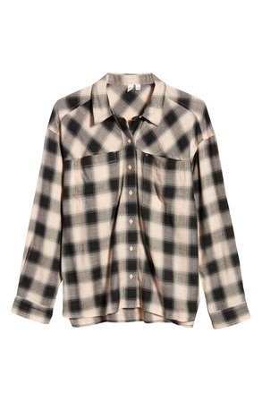BP. High/Low Plaid Button-Up Shirt | Nordstrom