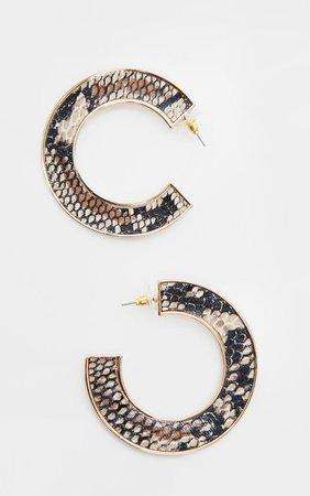Natural Snake C Shape Drop Earrings | PrettyLittleThing USA
