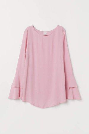 MAMA Flounce-sleeved Blouse - Pink
