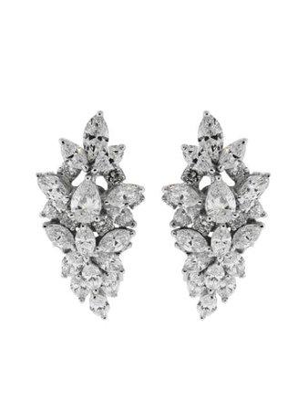 Silver Yeprem 18kt white gold diamond clip-on earrings - Farfetch