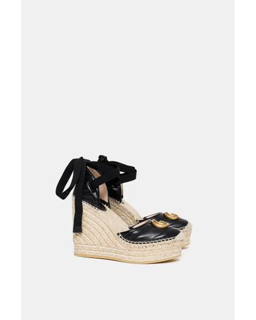 Gucci Palmyra Leather Platform Espadrille Wedges in Black - Save 2% - Lyst