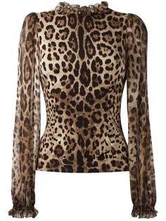 Dolce & Gabbana Leopard-Print Sheer-Sleeve Blouse, Brown/Black Leopard | ModeSens