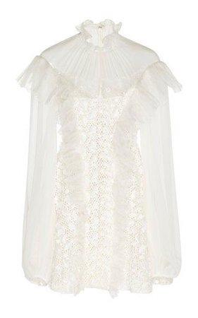 Lace Chiffon High Neck Mini Dress by Giambattista Valli SS19